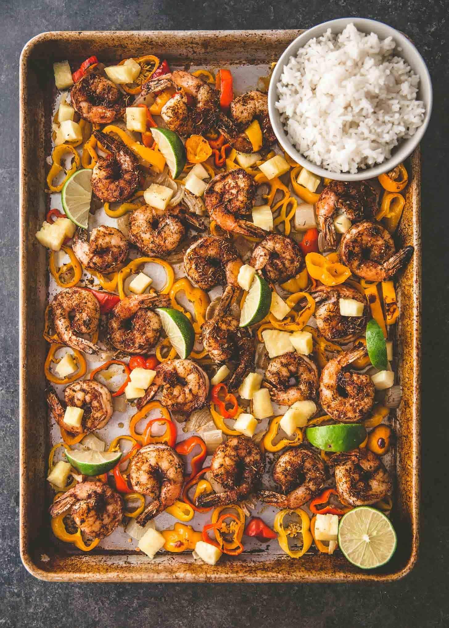 Sheet Pan Jerk Shrimp with Coconut Rice | Recipe | Jerk ...