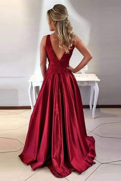 de68b3d6b246 A-Line Round Neck V-Back Maroon Satin Prom Dresses with Lace-Pgmdress