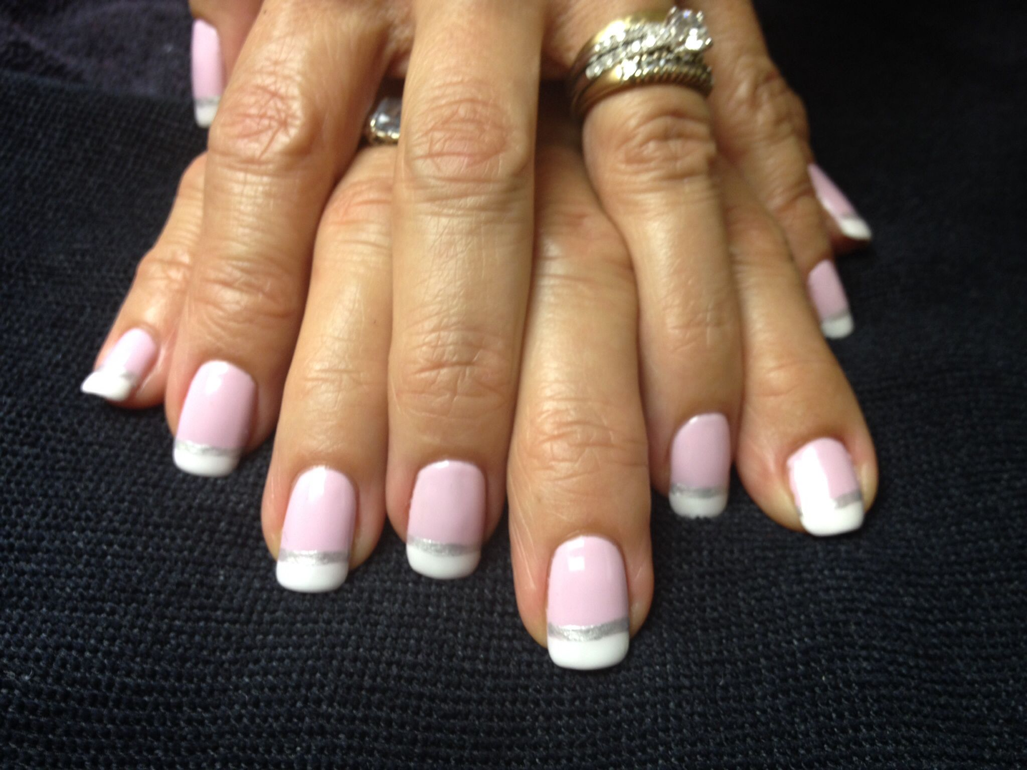 Shellac French manicure in Cake Pop with silver pin stripe. | Nails ...