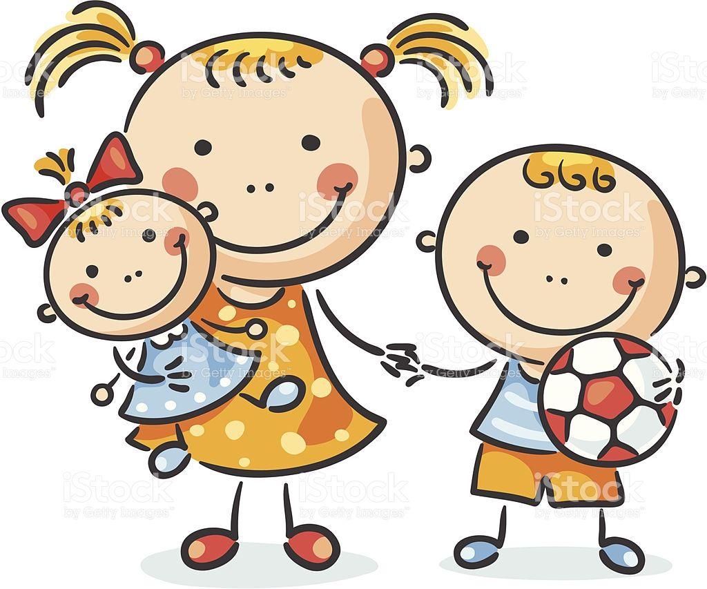 Dibujo De Sonriendo Ardilla De Dibujos Animados Para: A Girl And Her Little Brother Are Holding Hands And Toys