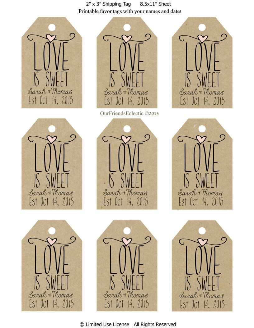 printable wedding favor tags, custom favor tags, love is sweet ...