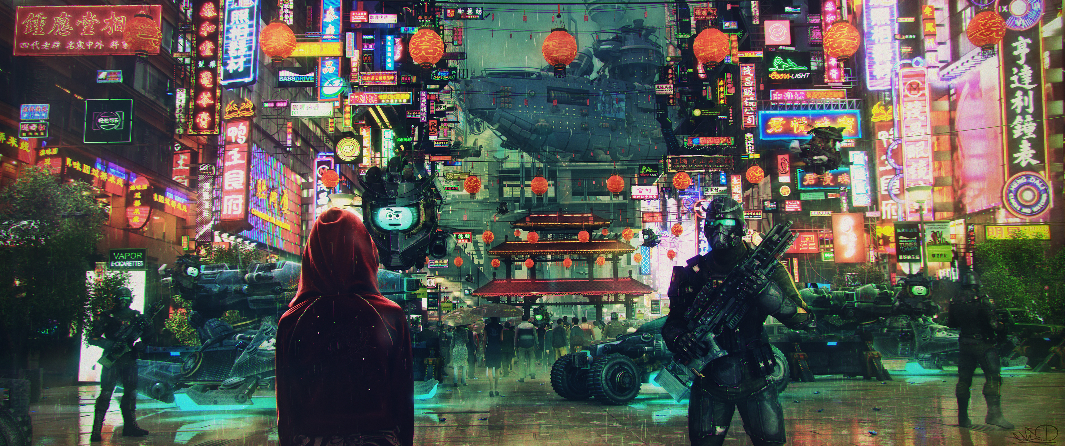 General 3440x1440 Science Fiction Cyberpunk Cityscape Soldier Asian Architecture Neon Lights Ultrawide Asian Architecture Cyberpunk City City Illustration