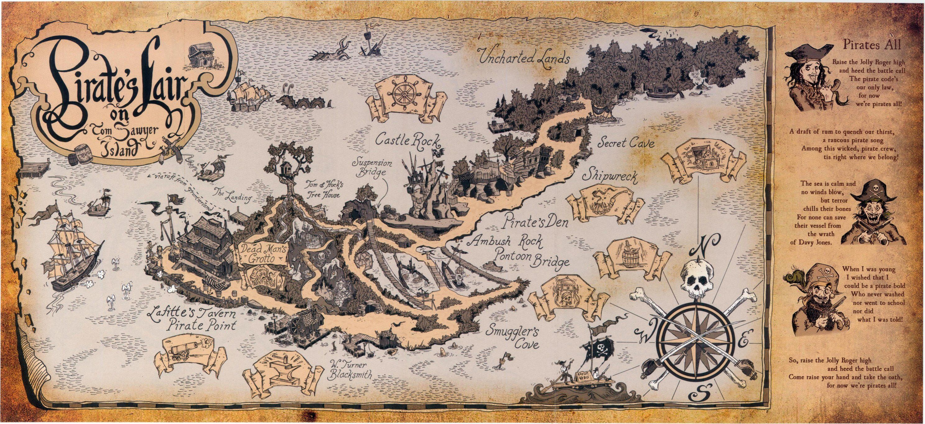Disneylands Pirates Lair Map In The Style Of The Old Tom - Disneyland usa location map