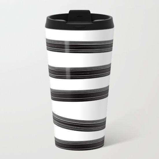 Black and white stripes Metal Travel Mug