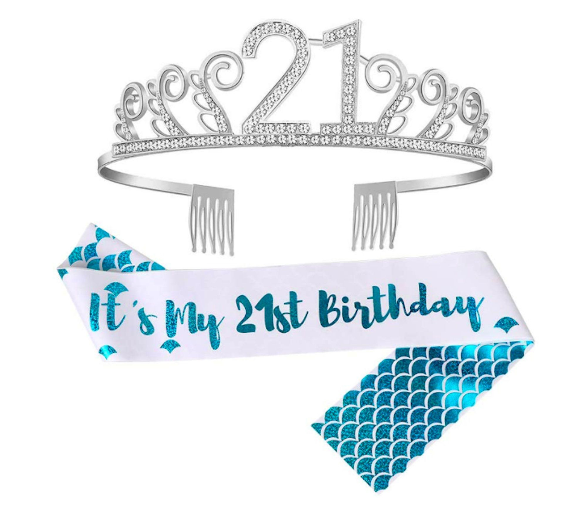 21st Birthday Sash Crown Happy Birthday Party Supplies Decorations 21 Glitter Me…