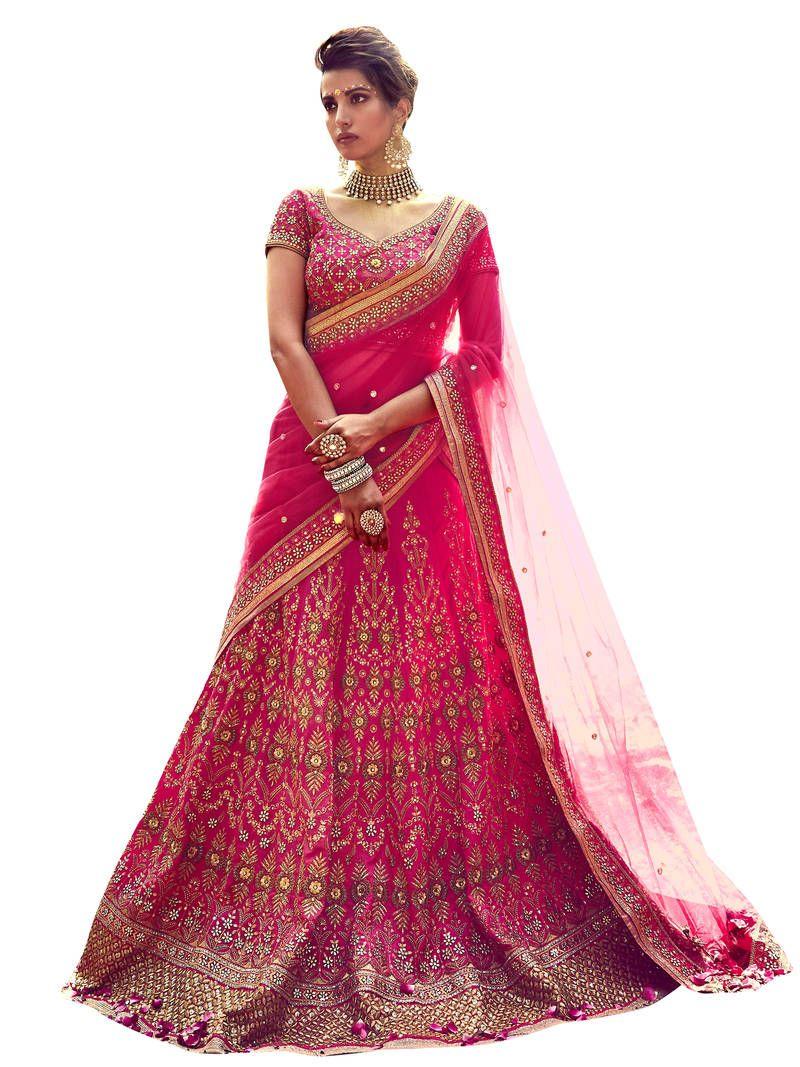 9af270e2e1 Pink embroidered banglory silk unstitched bridal-lehengas | Wedding ...
