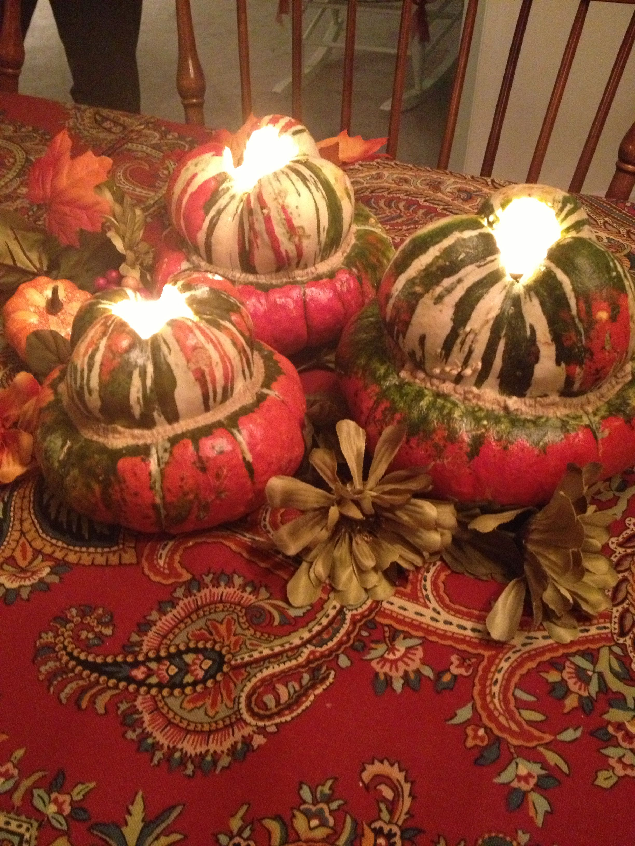 Hollowed out courd for Thanksgiving day table decoration :)   Holidays thanksgiving, Fall deco ...