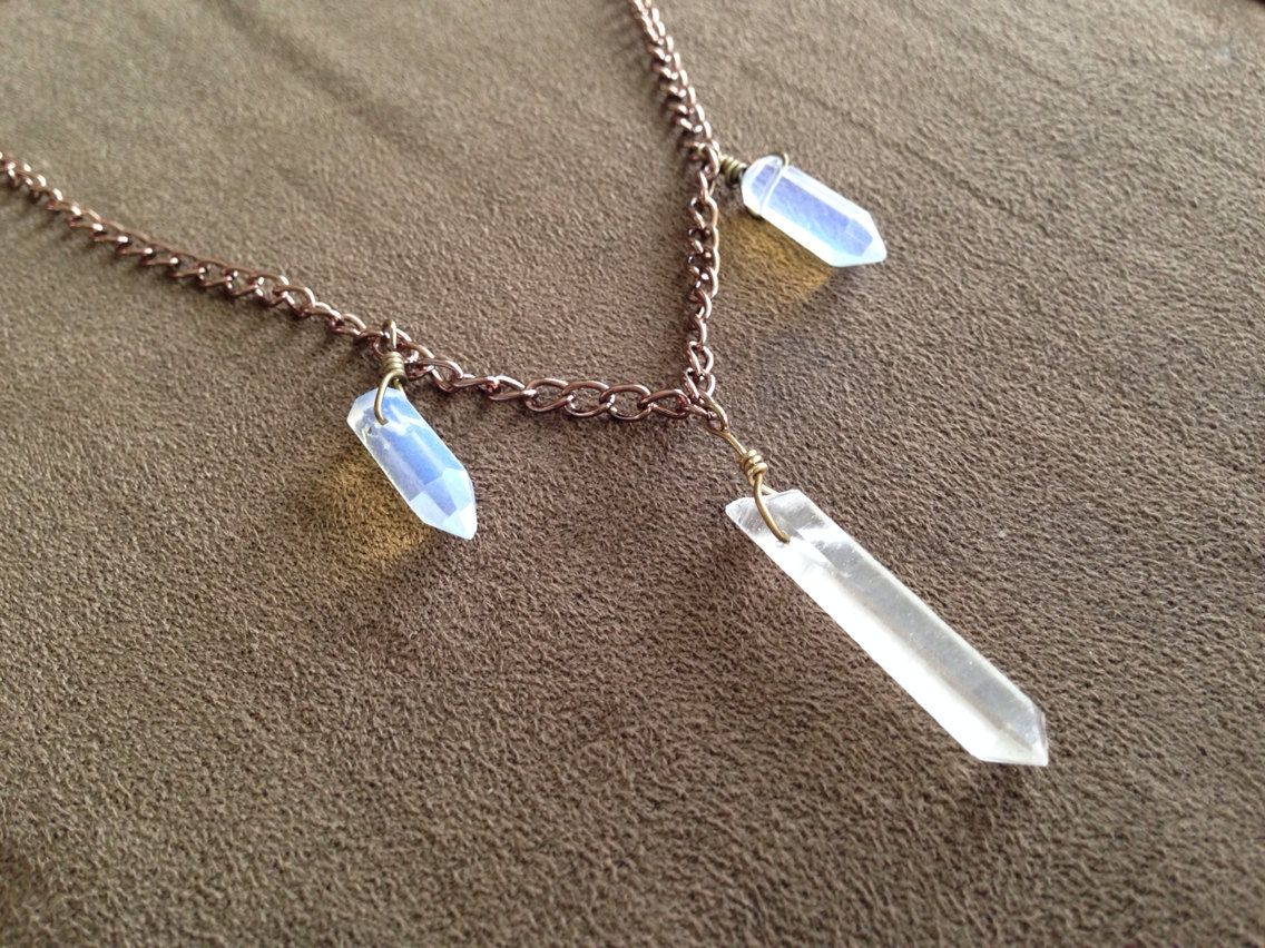 Quartz and opalite choker necklace  by thisthatandthese on Etsy, $20.00