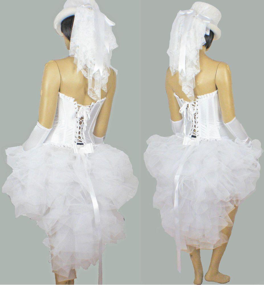White Burlesque Wedding Bride Hen Party Night TuTu Costume Dress Up ...