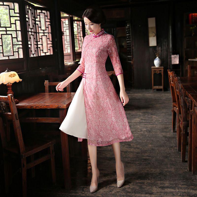 2018 New Style Long Cheongsam Dress Sexy Chinese Dresses Chinese ...