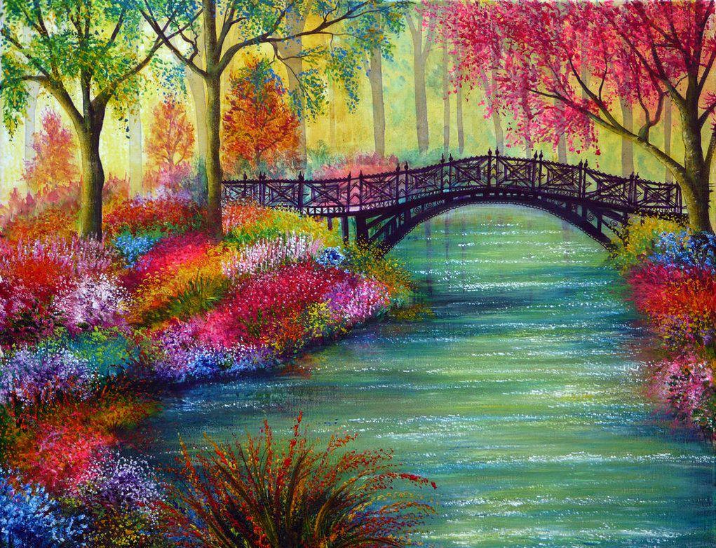 Elysian Bridge By Annmariebone On Deviantart Colorful Landscape Nature Paintings Beautiful Paintings