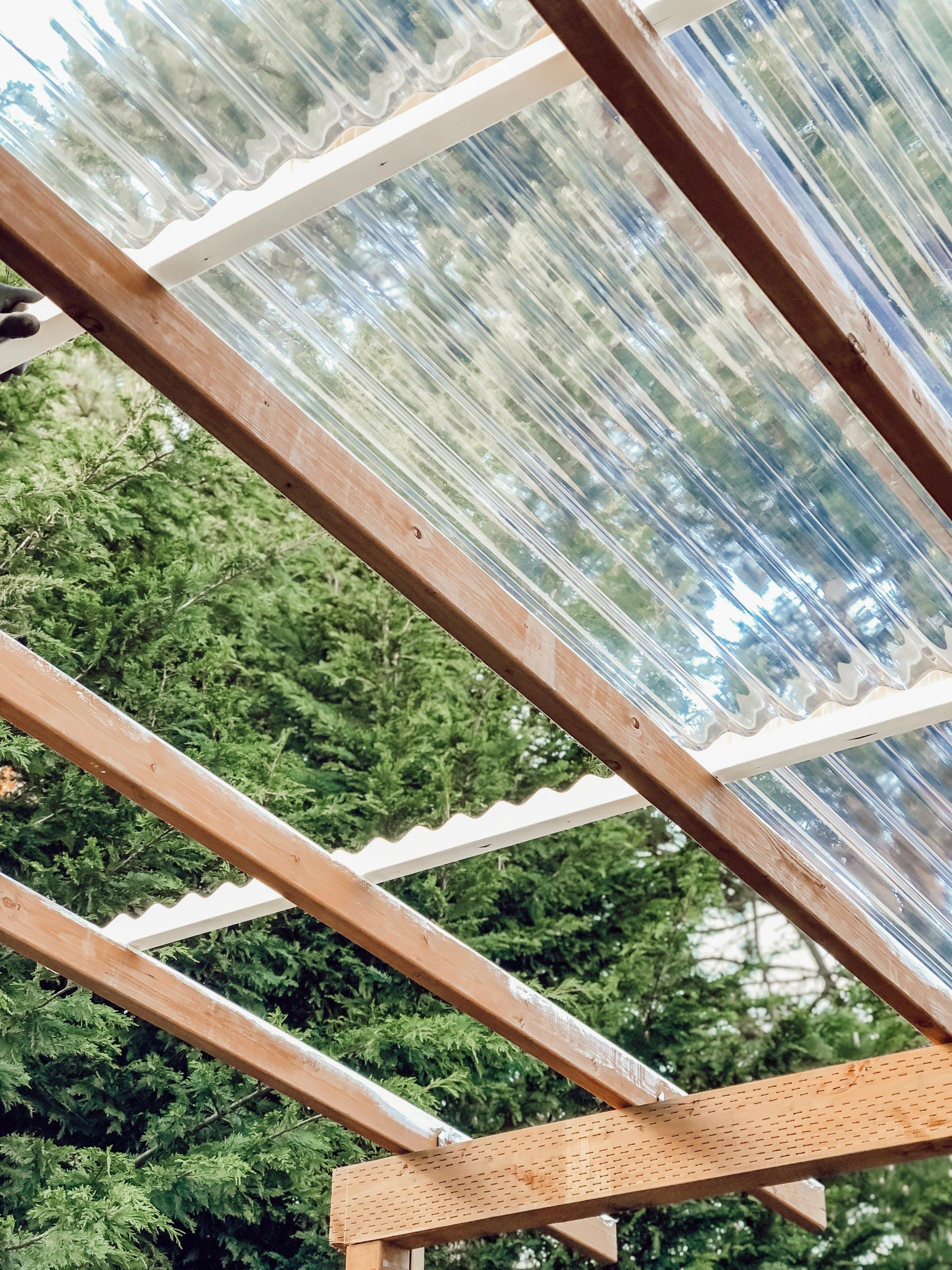 Diy Clear Corrugated Covered Pergola Attached To The House And An Existing Deck Rain And Pine In 2020 Deck With Pergola Covered Pergola Pergola With Roof