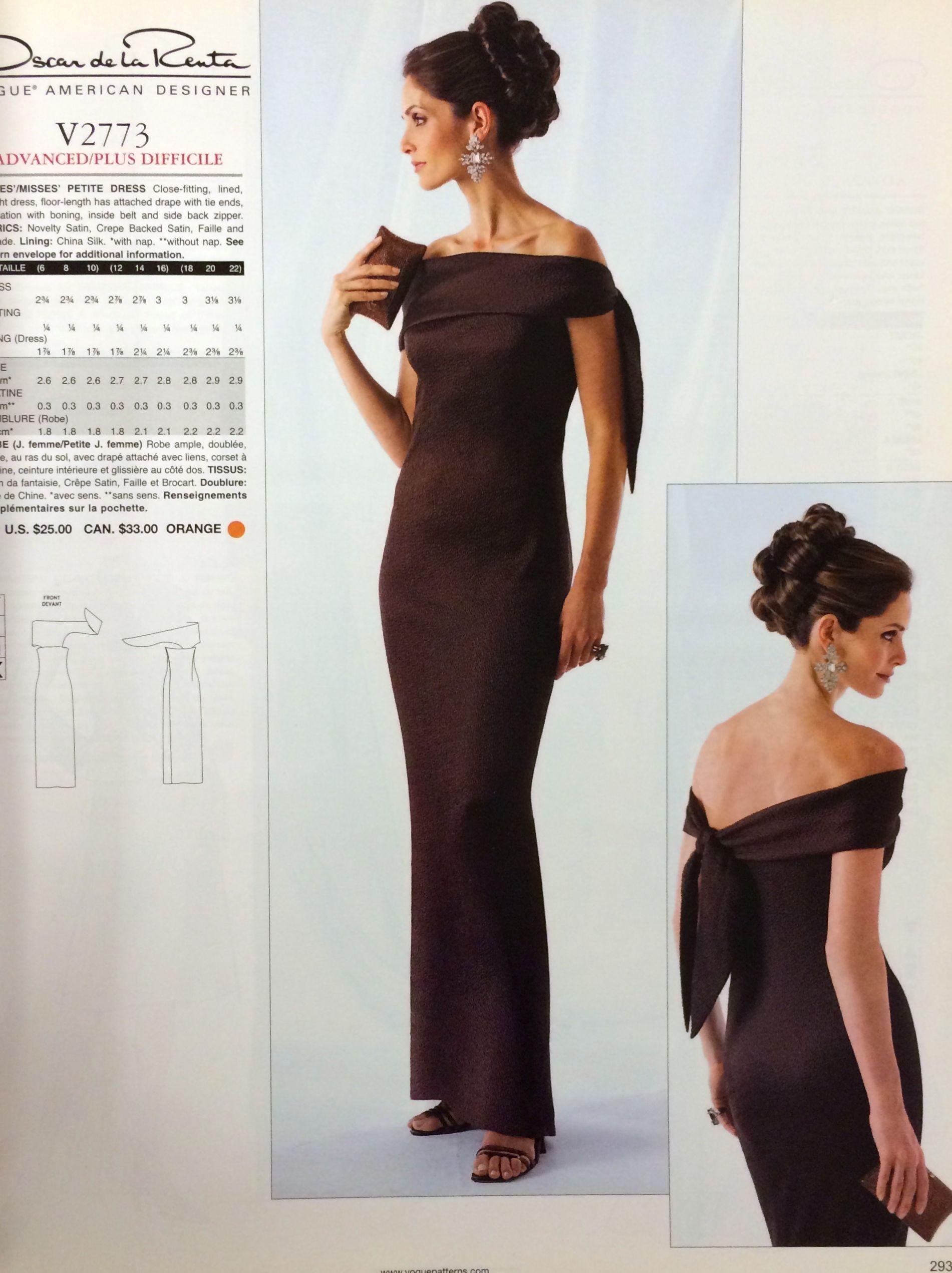 Oscar de la Renta sewing pattern for Vogue Patterns, c. 1990s-2000s ...