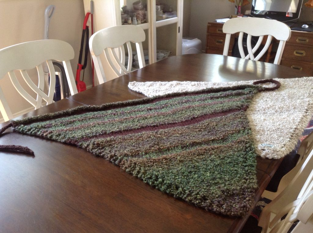 Homespun and wool blend prayer shawl with I cord tie