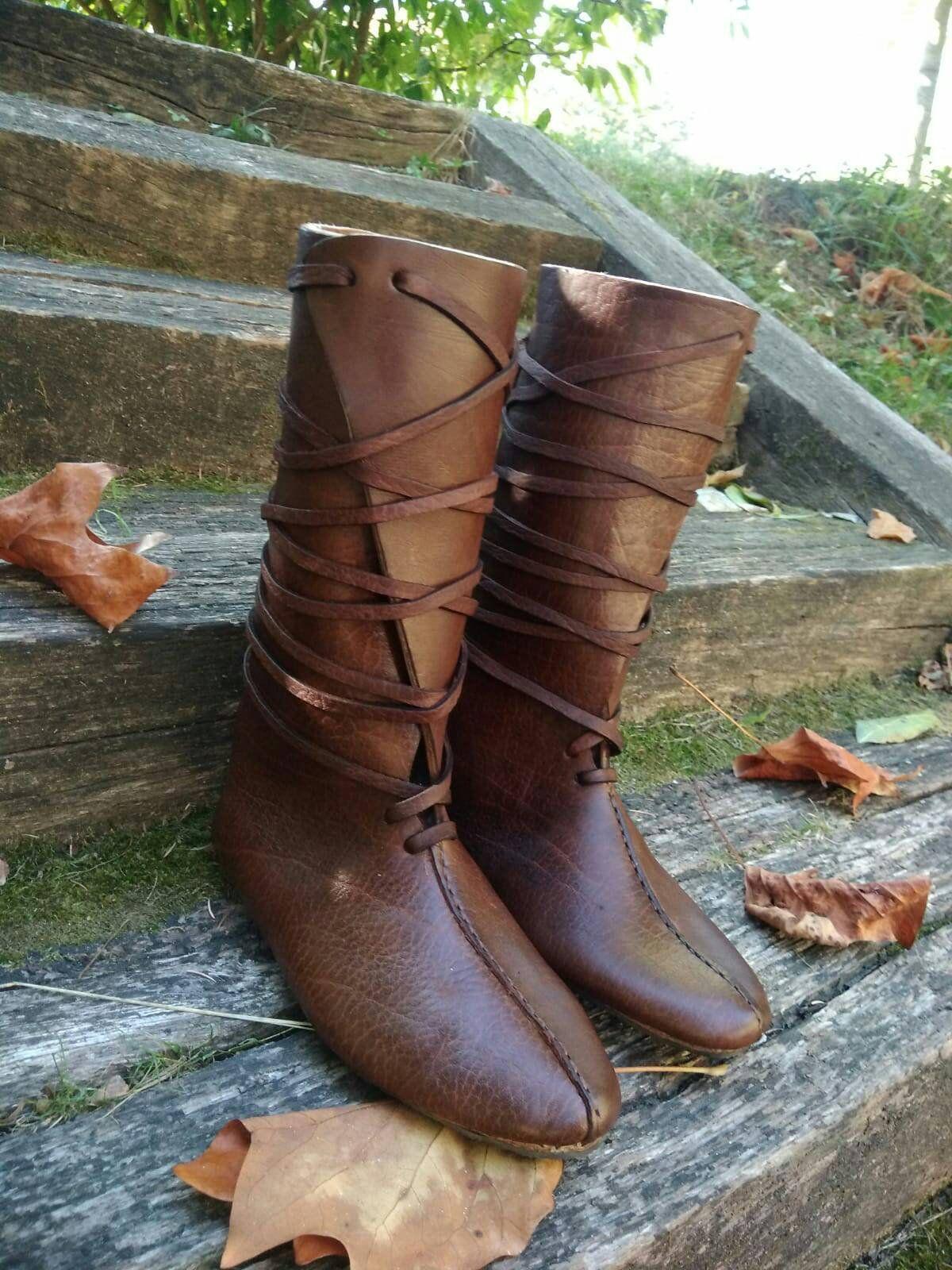 Mittelalter Schuhe Stiefel Lederstiefel Wikingerstiefel Larp