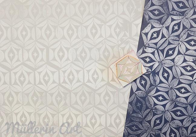 muster papier bcher stempel und fische nach mllerin art - Bastelpapier Muster