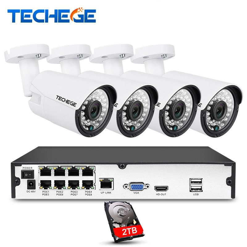 Free shipping Techege 8CH 1080P POE NVR kit 2MP 3000TVL PoE IP