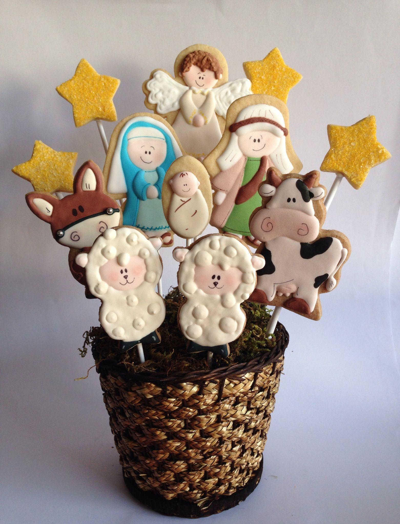 Nacimiento de galletas   galletas   Pinterest   Christmas cookies ...