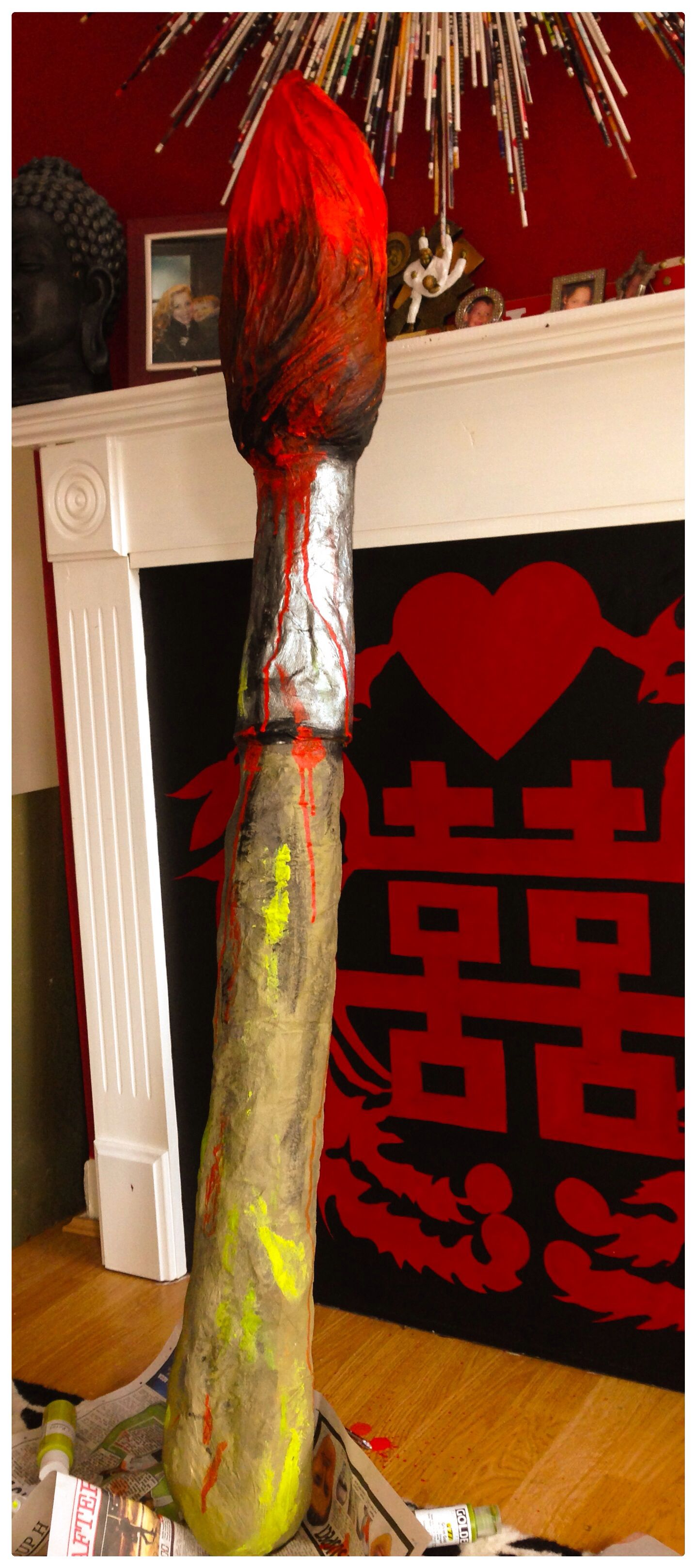 Art Party Prop. Giant paintbrush made with an old broom ...