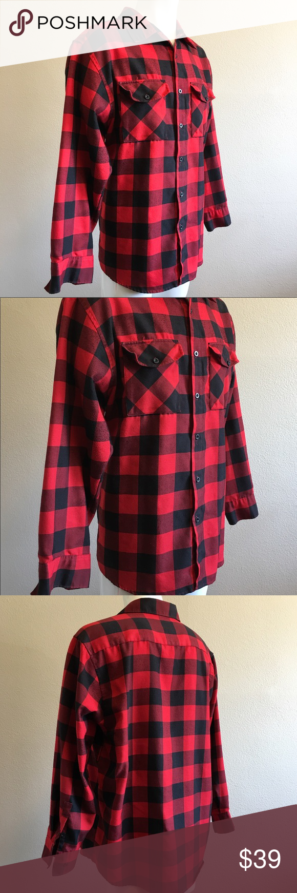 Flannel under shirt  Yago Flannel Checker Long Sleeve Shirt  Color red Flannels and Red