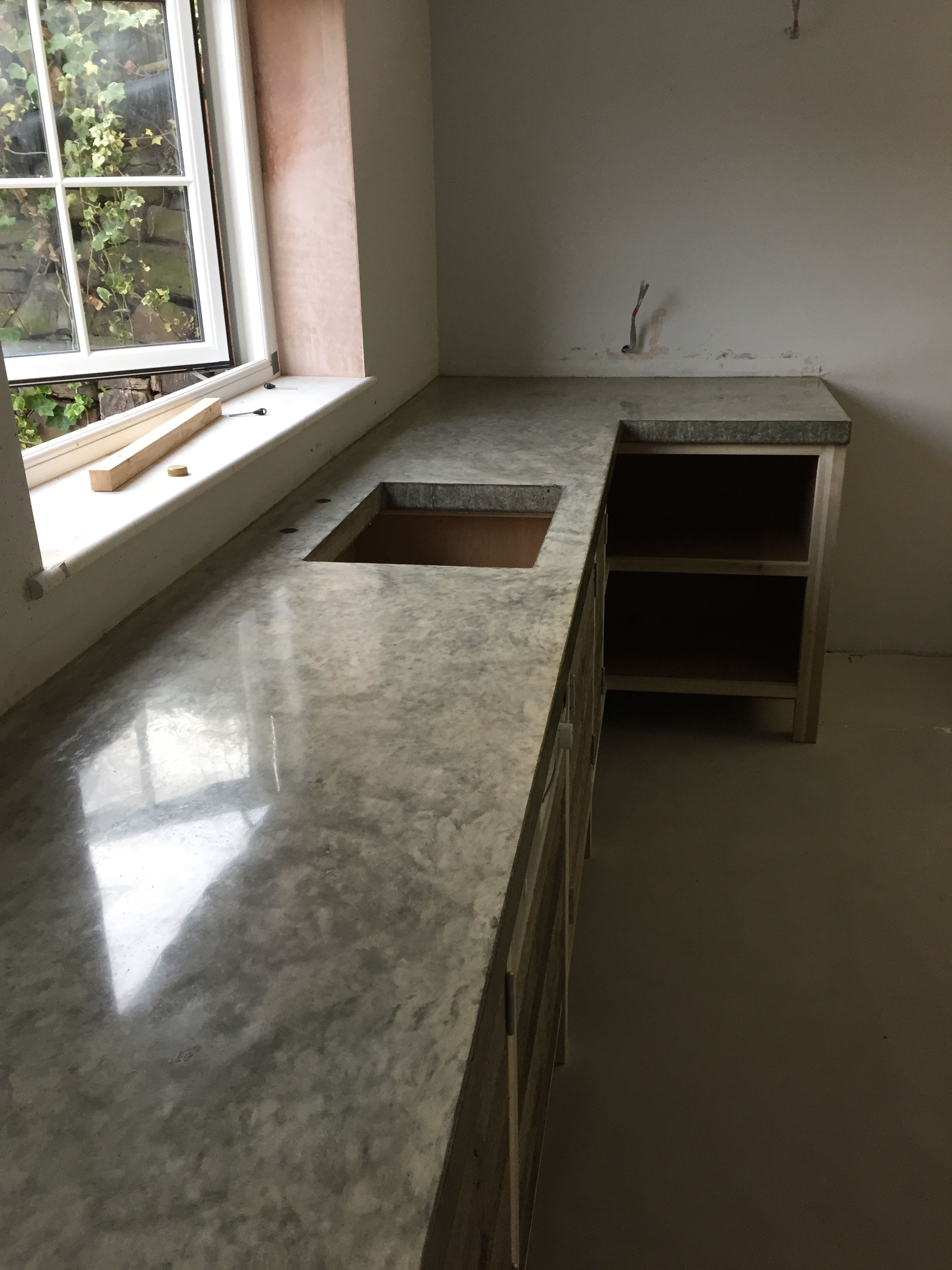 Polished Concrete Worktop Cast In Situ No Joins
