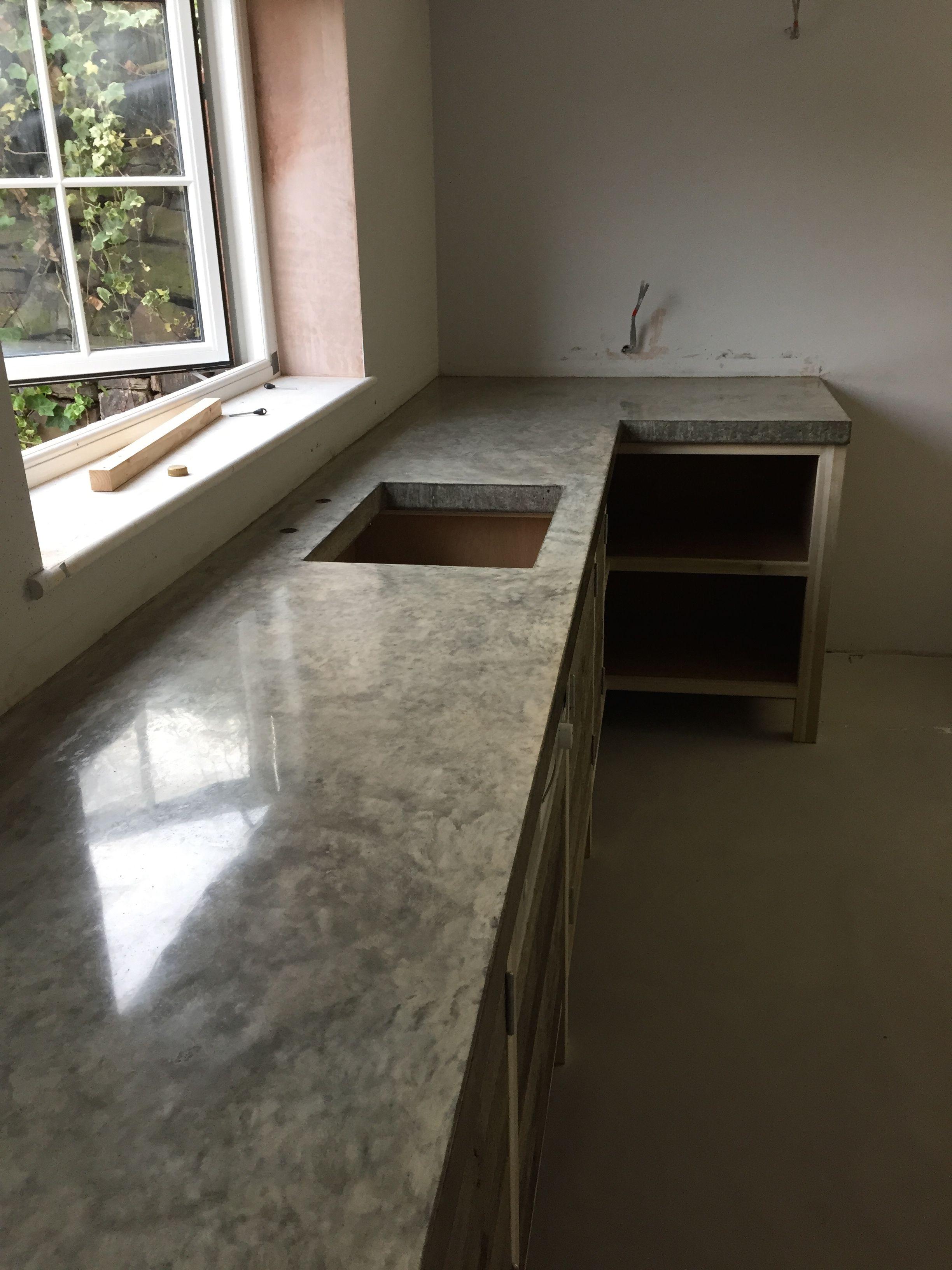 polished concrete worktop cast in situ. no joins arnoldskitchens