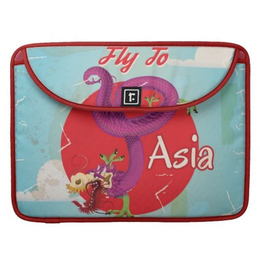 Fly to Asia Vintage Travel Poster Sleeves For MacBooks