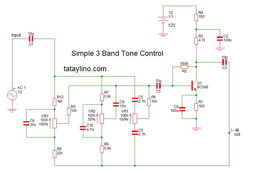 3band Tone Control Using Transistor Tataylino Com Transistors Electronic Circuit Design Control
