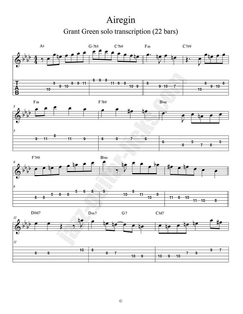 Airegin grant green jazz guitar transcription | music