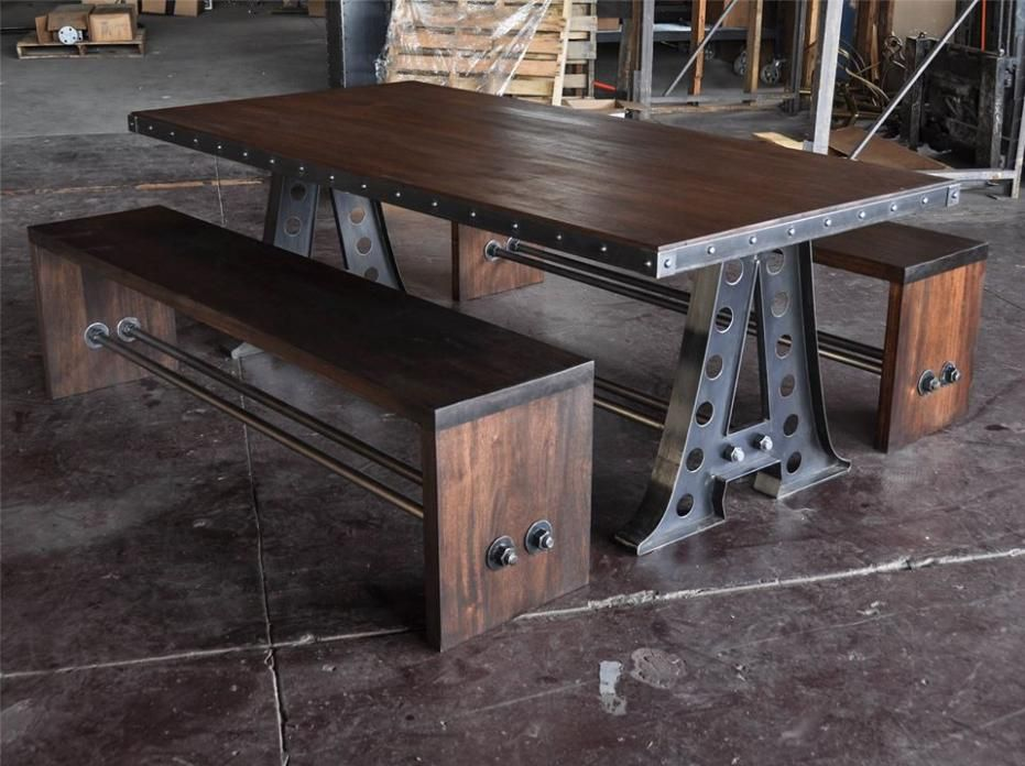 High Quality Vintage Industrial Furniture Design; Picnic Table   A Frame With Benches In  Mahogany