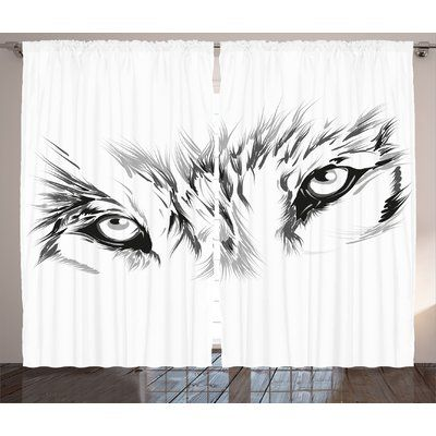East Urban Home Tattoo Winter Time Animal White Wolf with its Eyes Looking Straight and Fierce Graphic Print & Text Semi-Sheer Rod Pocket Curtain Panels | Wayfair