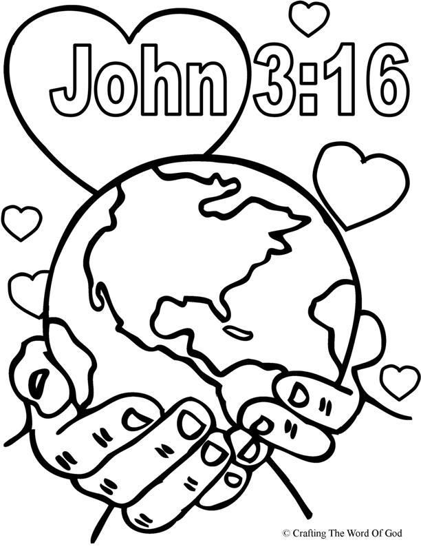 John 3 16 Coloring Page With All The Words Free Sunday School