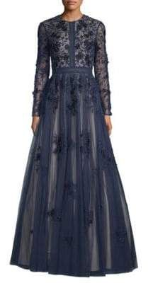 aa7ad9e6e18 Basix Black Label Long-Sleeve Floral A-Line Gown
