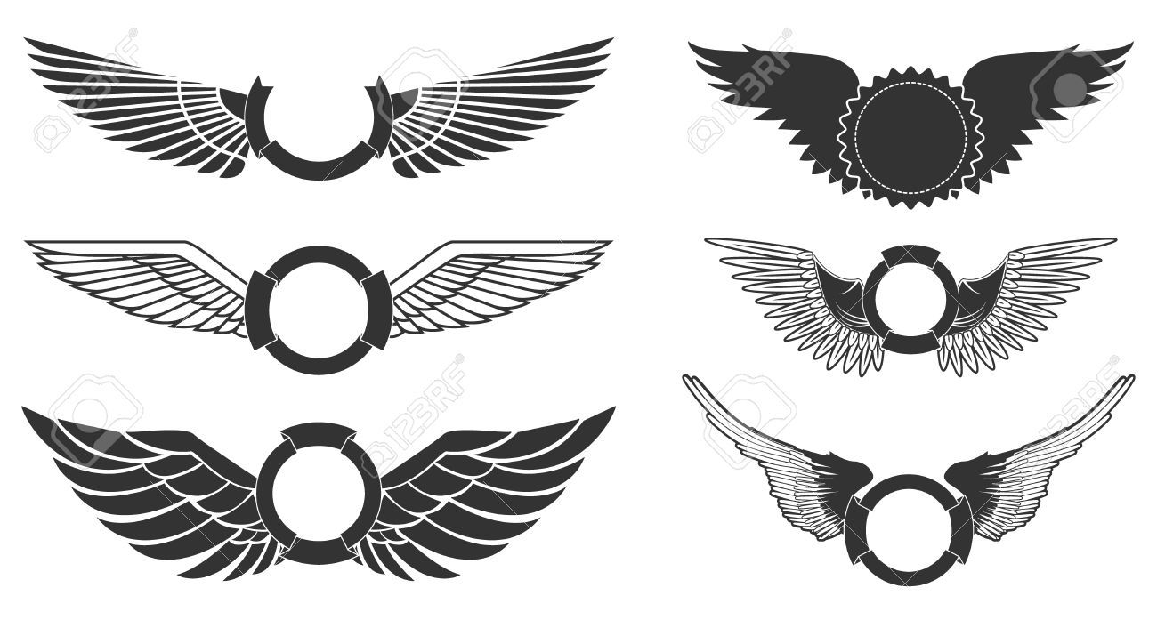 Wings with banners set on white background. Heraldic wings