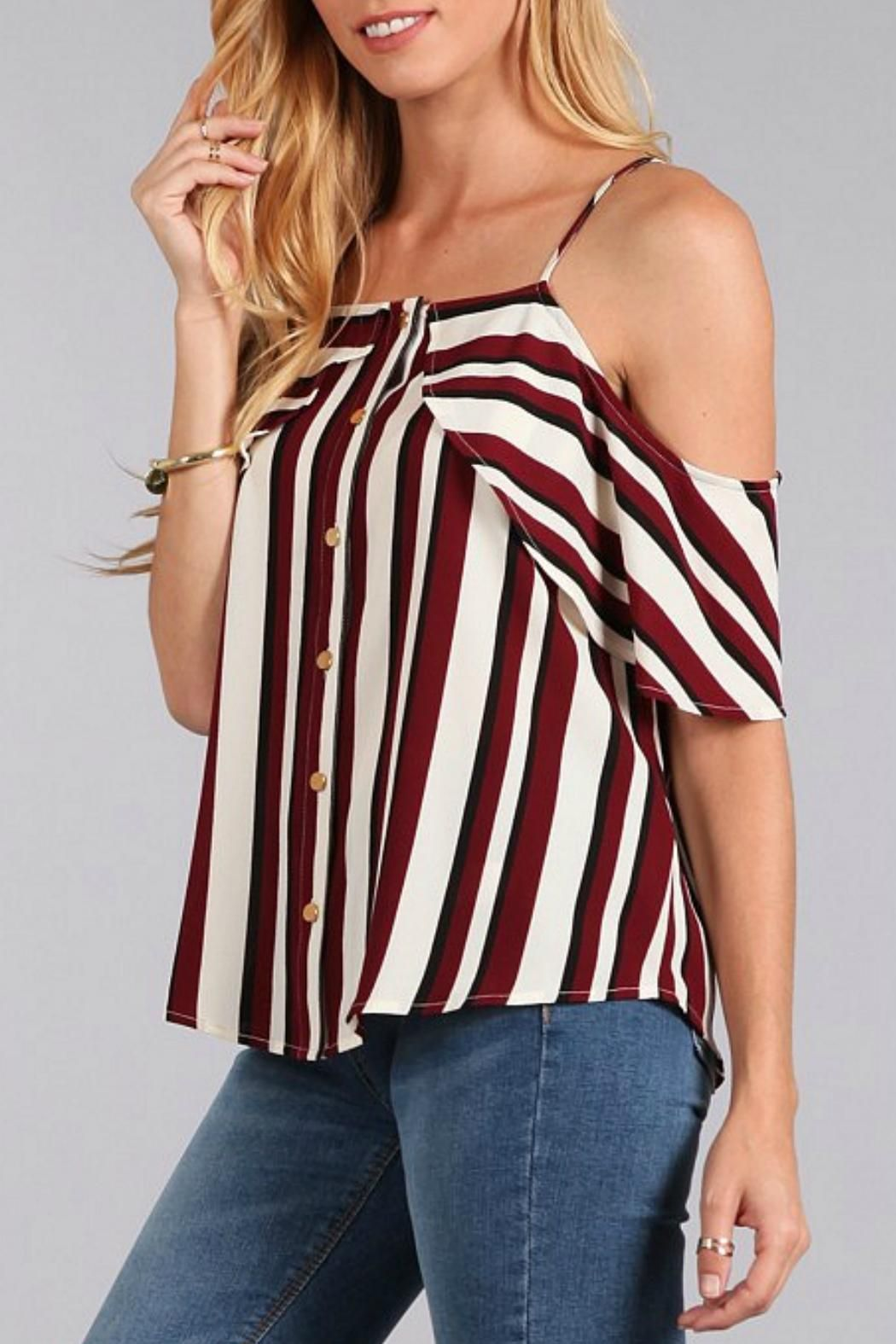 3dd1ba46d90 Cold shoulder striped shirt, with ruffle detail and gold buttons. Cold  Shoulder Shirts by Sweet Wanderer. Clothing - Tops - Casual Clothing - Tops  - Off The ...