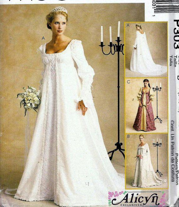 2000s Pattern Renaissance Meval Wedding Gowns Empire Waist Scoop Neck Detachable Train Costume Dress Mccalls P303