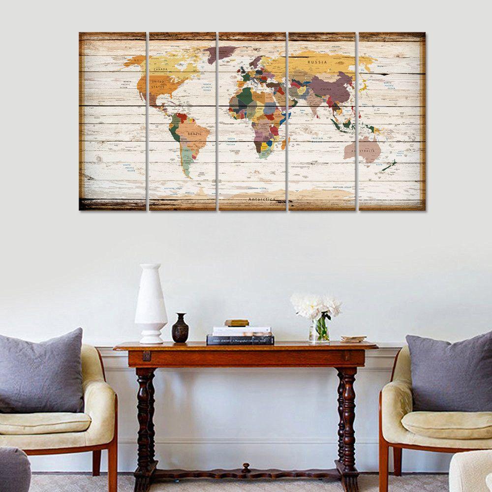 Wood panel themed world map canvas print 32 x 60 five panel framed wood panel themed world map canvas print 32 x 60 five panel framed wall gumiabroncs Images