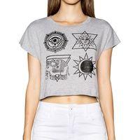 Mujeres totem blusas patrón gris corto camiseta de manga corta para camisetas de moda camisas femeninas tapas ocasionales del o-cuello DT440