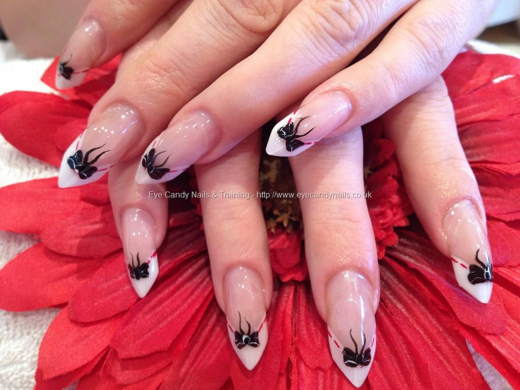 Edge nails with freehand bow nail art I would poke my eye out with ...