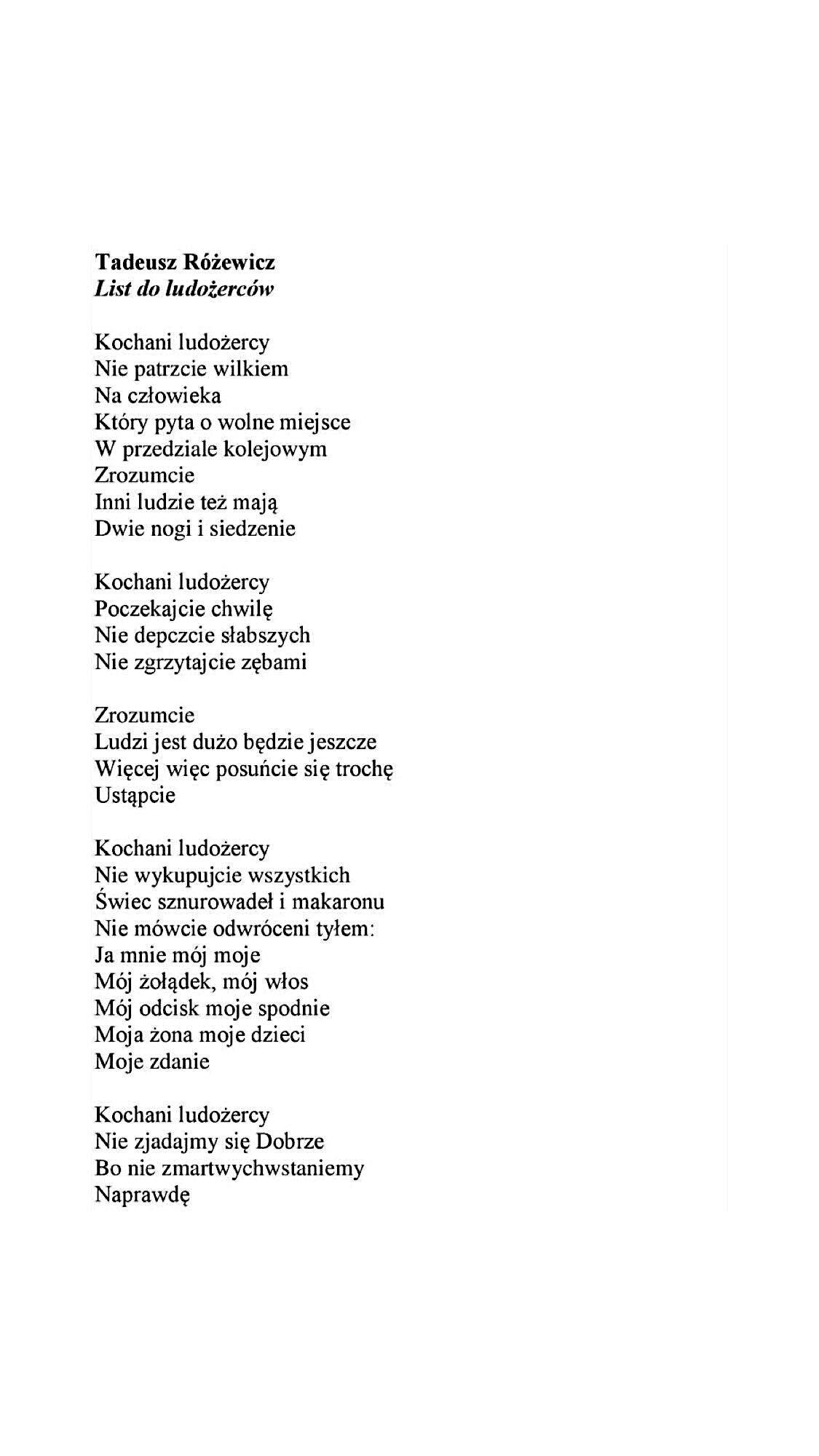 Tadeusz Różewicz List Do Ludożerców Prawdziwe Cytaty