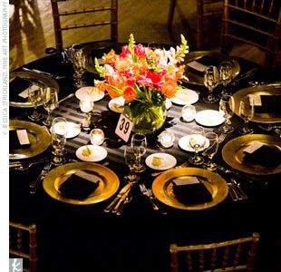 Set With Striking Black Linens The Couple Accented The