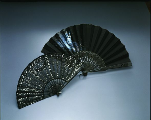 Mourning Fans: ca. early 20th century.