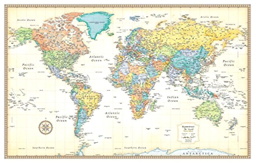 Classic world map wall hanging education school supplies 50x32 rand mcnally classic world wall map world map is centered on africa which allows gumiabroncs Image collections