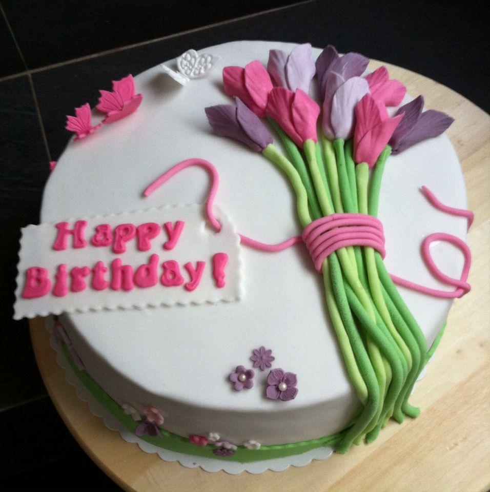 Tulpen Blumengruß Zum Geburtstag!! Fondant Torte Mit