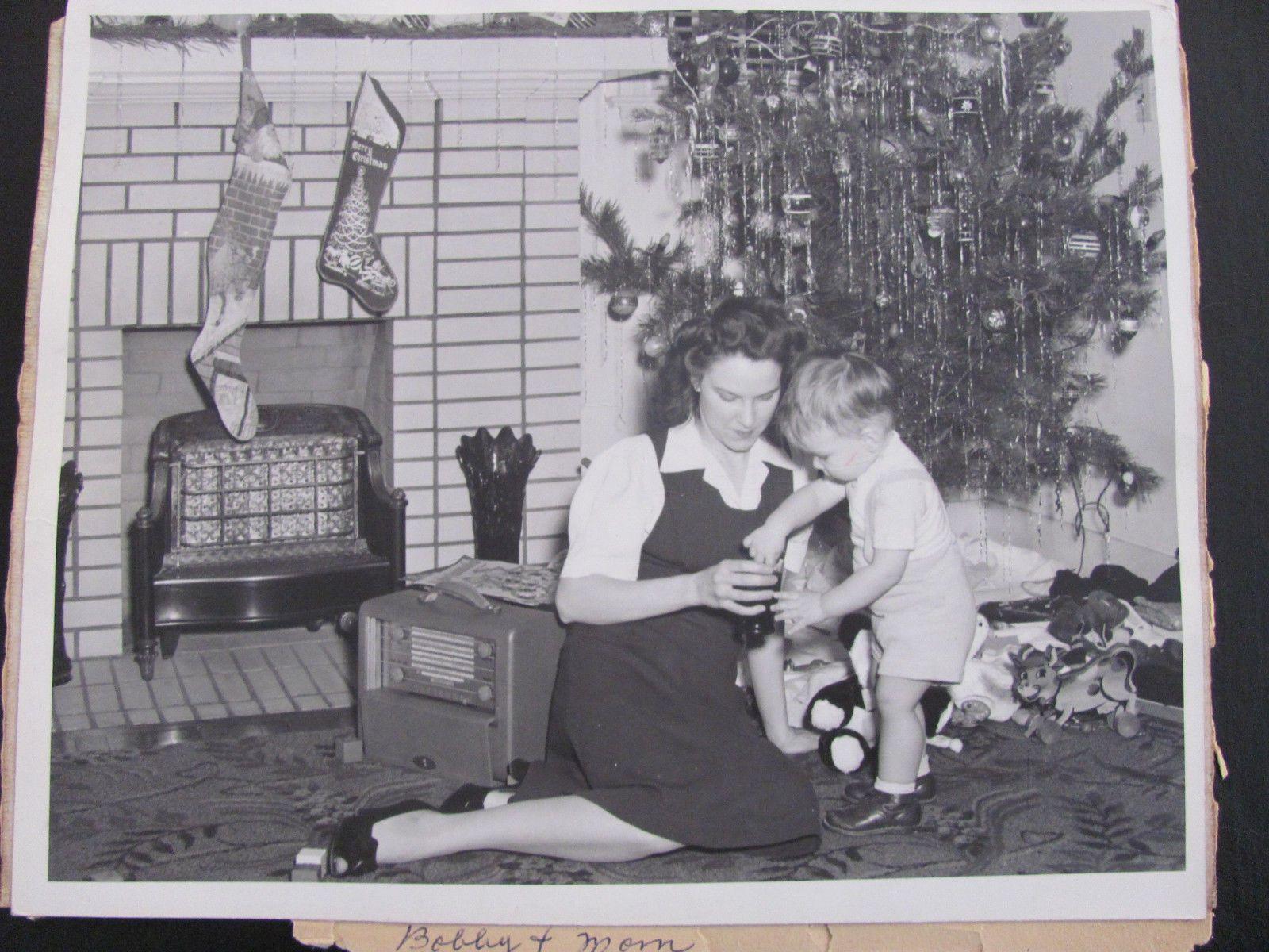 Vintage 40 s B&W Christmas Little Boy Toys Stockings Tree 8