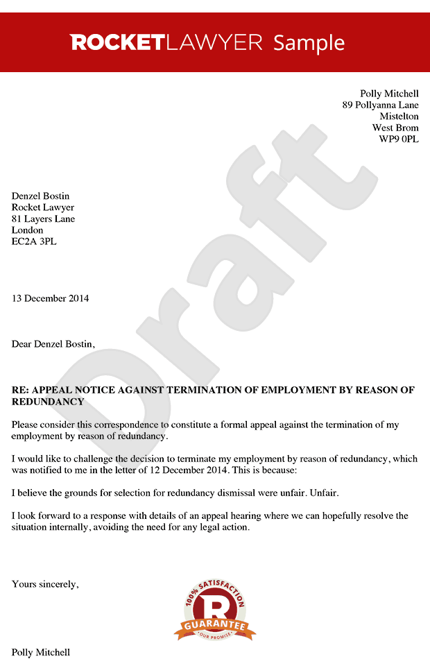 appeal letter for dismissal from work