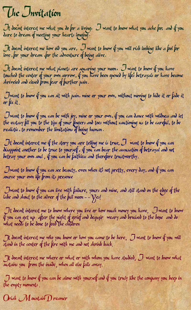 the invitation oriah mountain dreamer poem pdf   speak low when, Einladung
