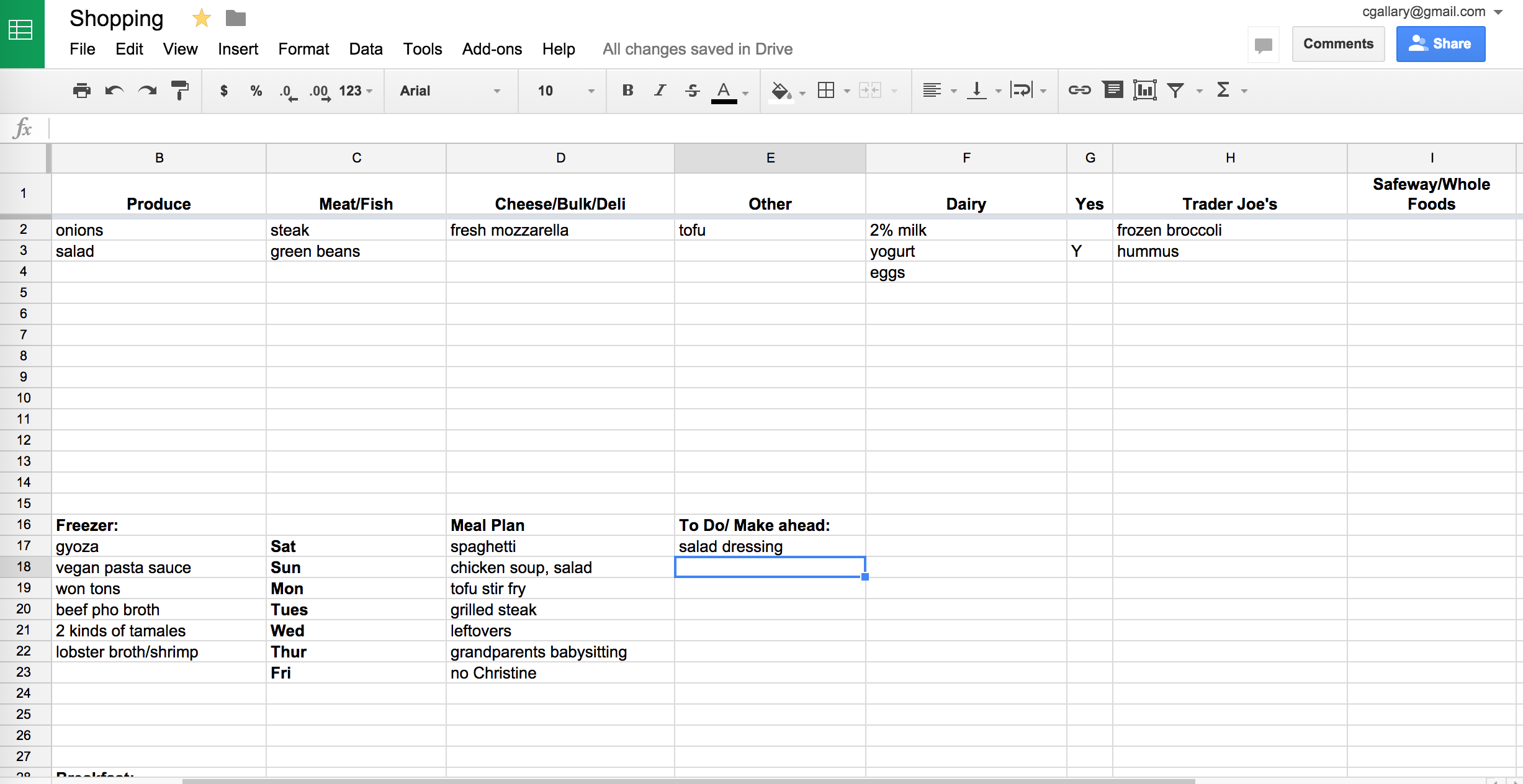 How I Use Google Sheets For Meal Planning Meal Planning Template Google Sheets Meal Planner Template