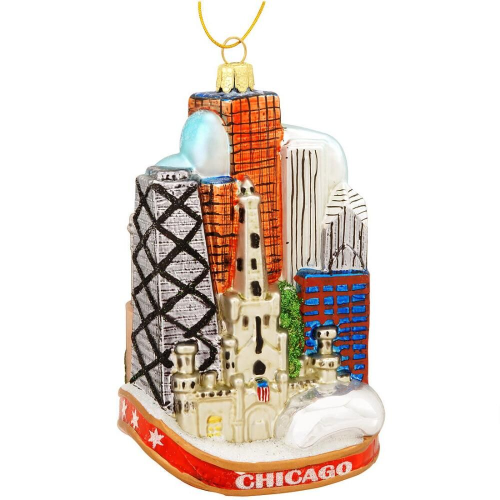 chicago cityscape glass ornament - Chicago Christmas Ornament