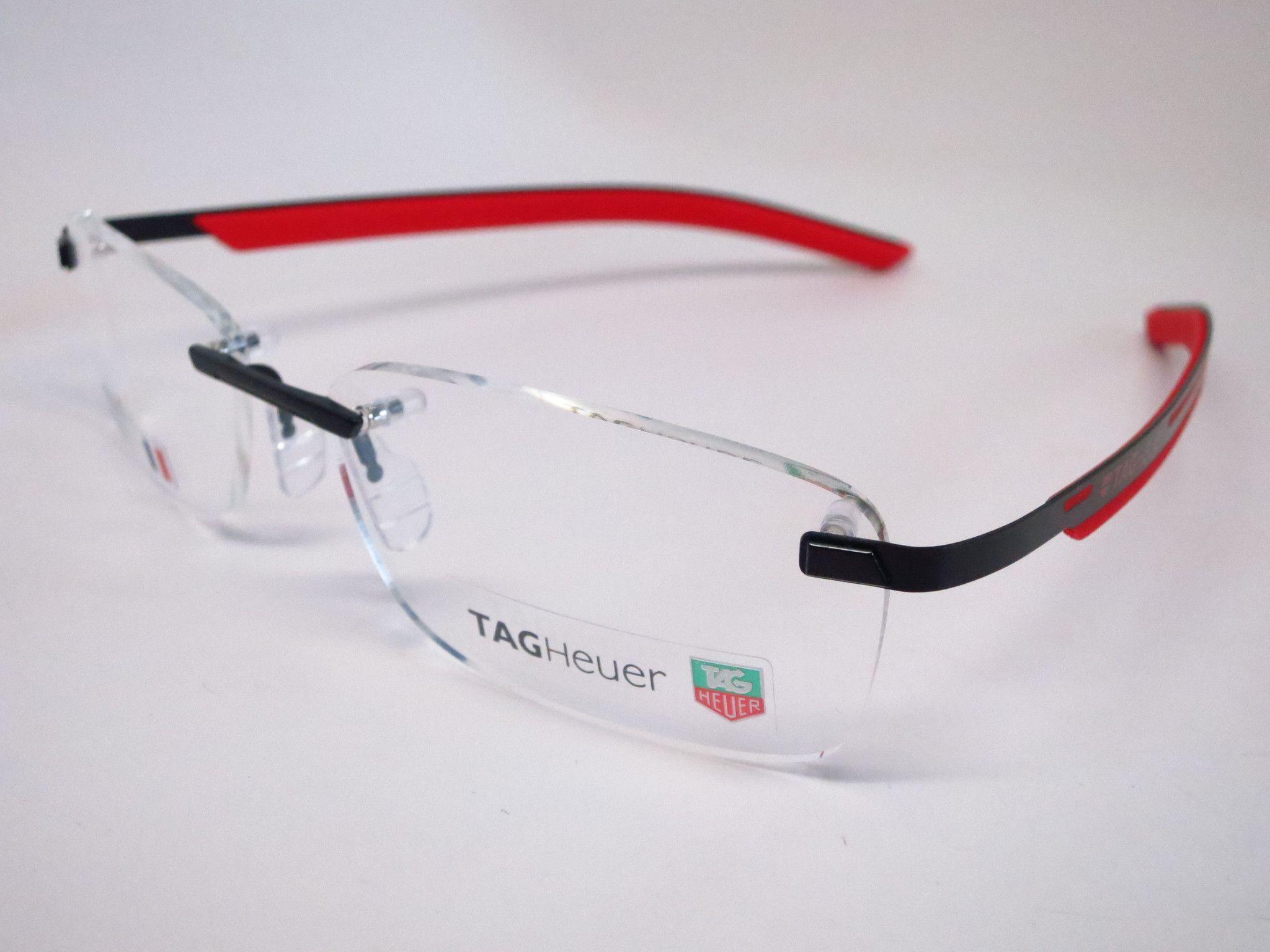 0c3f7930ef4 Tag Heuer TH 3843 002 Red   Black Line Rimless Eyeglasses